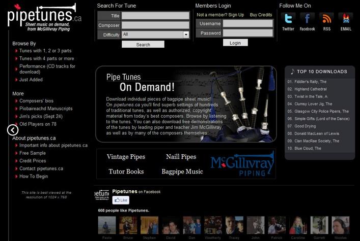 Pipetunes website designed by Fusion Studios Inc.