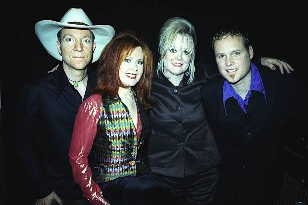 Fred Schneider Kate Pierson Keith Strickland and Cindy Wilson of the rock and roll band 'The B52s' pose for a portrait in 1998 in New York City New...