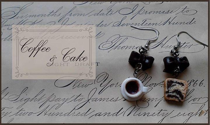 miniature coffee and cake earrings   polymer clay food jewelry