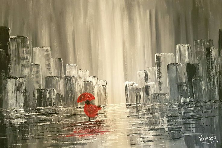 A2 canvas...Rainy day in Cape Town...done with palette knifes