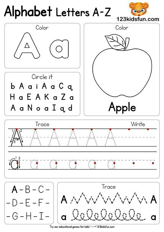 Free Alphabet Practice A-Z Letter Worksheets | 123 Kids ...