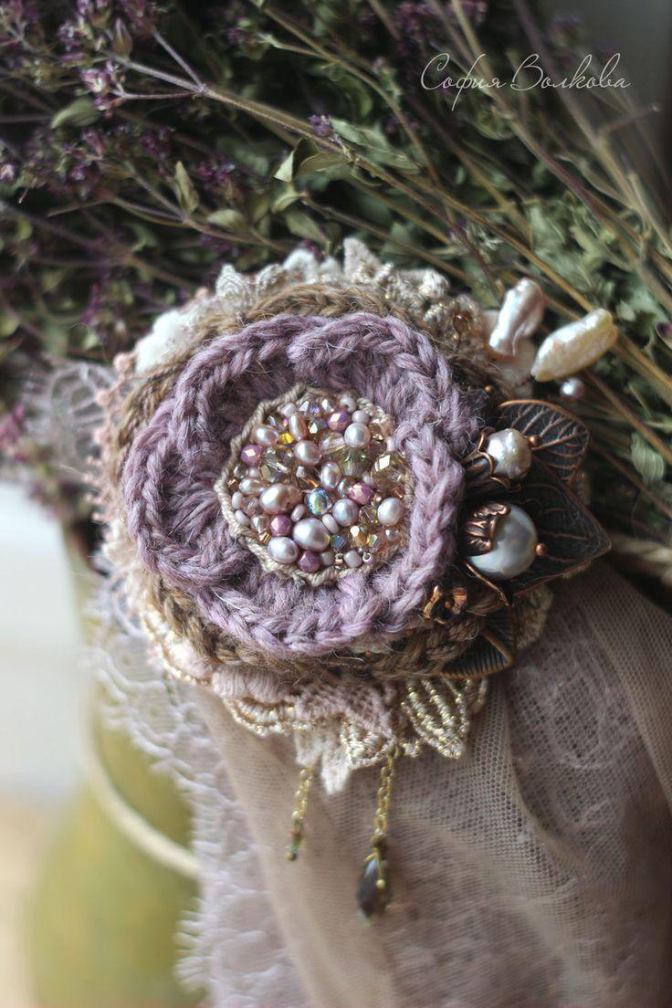 """Boho brooch """"Нежный вереск"""" - цветок брошь, брошь ручной работы, брошь с вышивкой"""