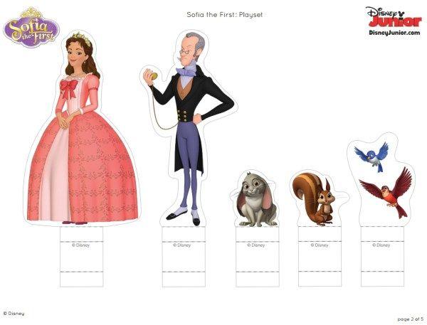 Personagens Sofia Primeira prontos para imprimir