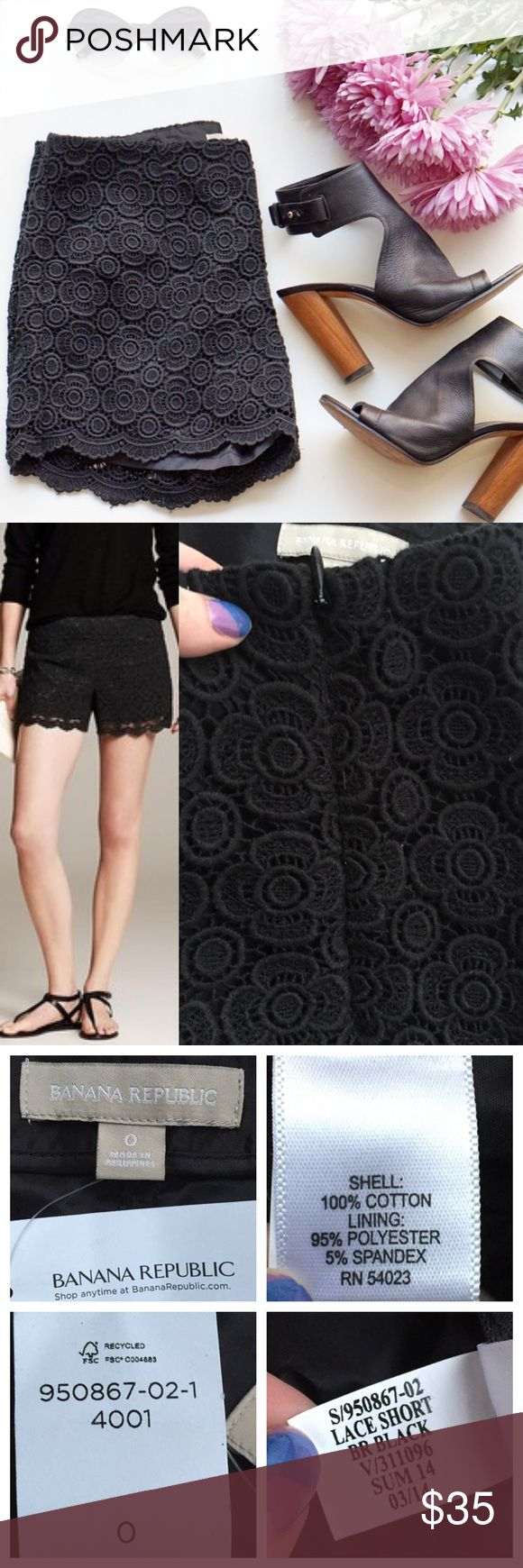 "🆕NWT Banana Republic Black Lace Scalloped Shorts Brand new with tag Banana Republic black shorts. Lace design, fully lined. Scalloped hemline. Hidden side zip. Size 0, runs slightly large. Approx 15"" across waist lying flat, 9"" rise, 4"" inseam. Model photo credit Banana Republic. ❌No trades❌Price firm unless bundled. Banana Republic Shorts"