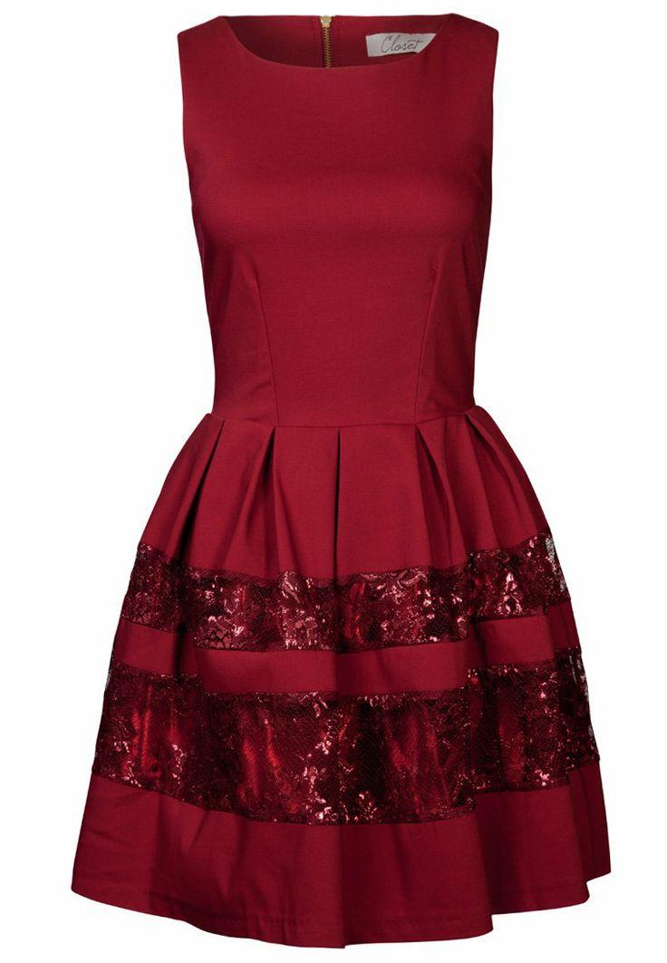 Closet cocktailkleid festliches kleid berry - Zalando kleid rot ...