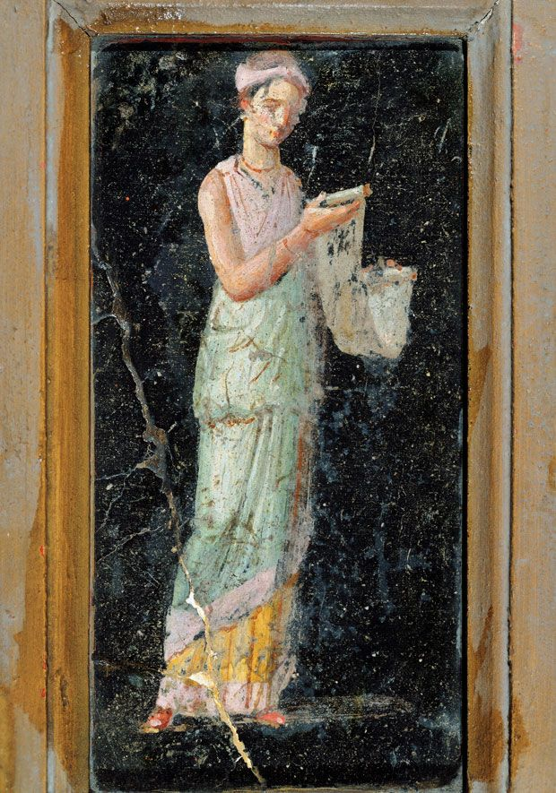 A fresco at Pompeii depicting a literate female Etruscan browsing through a scroll