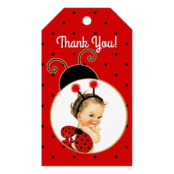 Thank You Cards Baby Shower Matching Invitation Ladybug Party Favor Tags Instant Download Red and Black Child Birthday DIY Printable