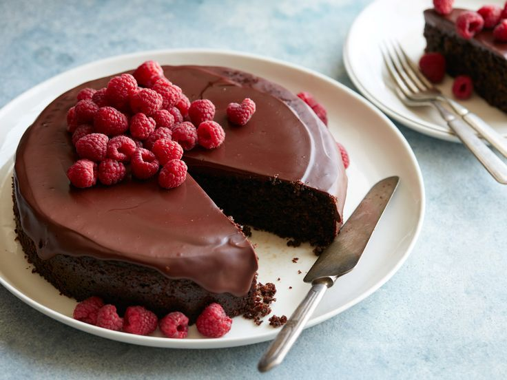 Flourless Chocolate Almond Cake : You won't miss the flour in this fan-favorite cinnamon-laced cake, which features a surprise ingredient — quinoa — for added substance. Katie drizzles the cake with a simple ganache of semisweet chocolate and coconut milk, and finishes it with fresh raspberries, before serving.