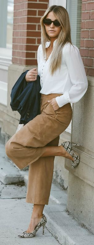 Cara Loren + suede + gorgeous culottes + white blouse + faux snakeskin boots Outfit: White House Black Market.
