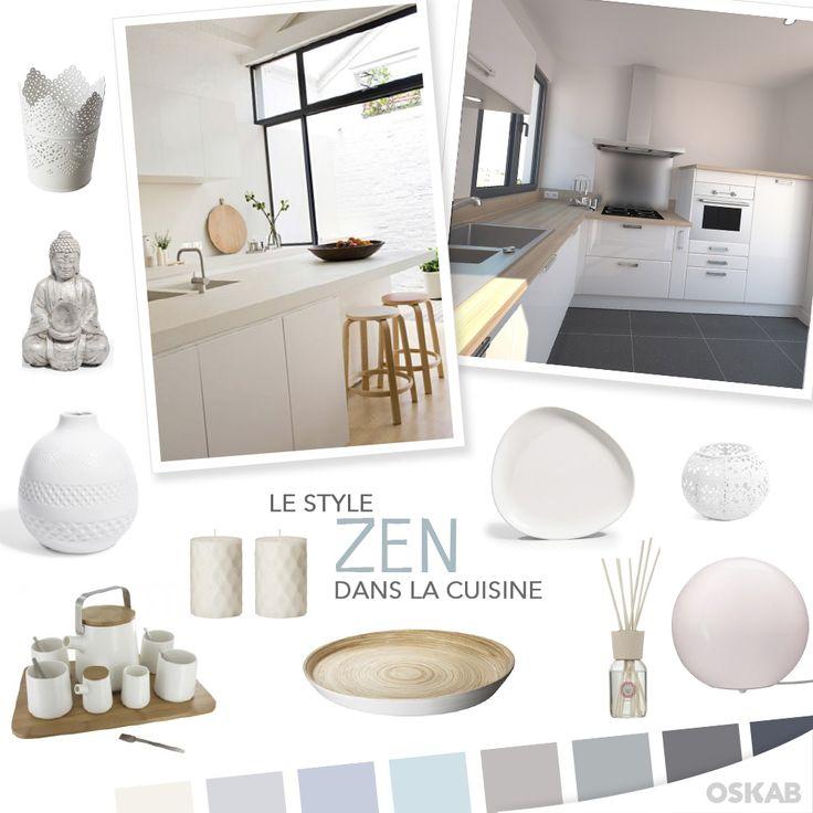 Découvrez notre planche de tendance sur le style zen pour recréer dans votre cuisine une ambiance minimaliste inspirée de la culture asiatique. #cuisine #zen  www.oskab.com