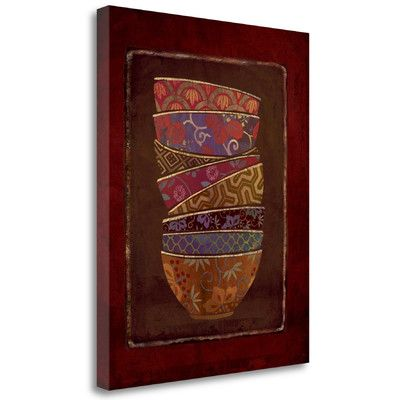 Tangletown Fine Art 'Asian Bowls II' by Linda Maron Graphic Art on Wrapped Canvas