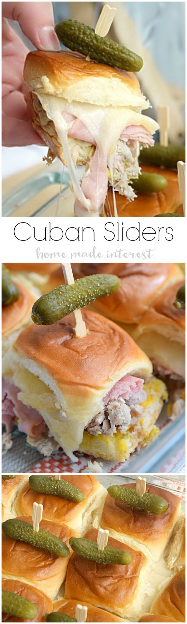 This Cuban sliders recipe is filled with ham, pork, and gooey cheese, all topped with a mini pickle! It is a great slider recipe for parties because you can make them ahead of time and then bake them before your guests arrive. It's a game day recipe your family and friends will love!