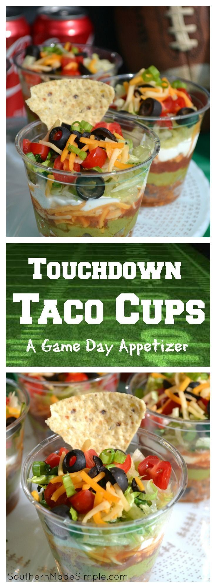 "Looking for a great game day snack? Look no further! These delicious ""touchdown"" taco cups will have you cheering and rooting for more! No more hovering over the dip bowl either! You can take you own taco cups wherever the party's at!"