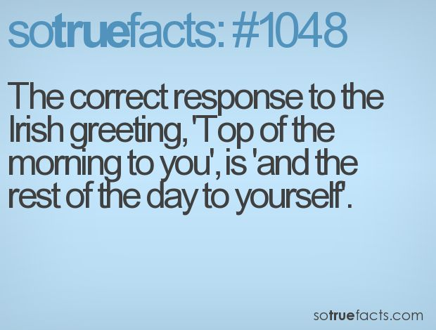 The correct response to the Irish greeting, 'Top of the morning to you', is 'and the rest of the day to yourself'.