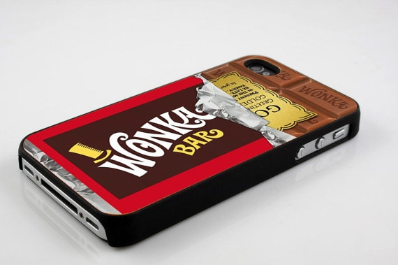 Golden ticket willy wonka bar iphone case for iphone 4 case, iphone 4s case, iphone 5 case, samsung s2 case, samsung s3 case hard case on Etsy, $14.60