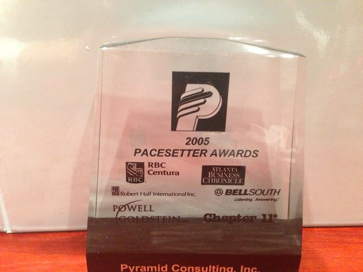 Pacesetter - 2005 In 2005, Pyramid Consulting, Inc. was recognized as one of the fastest growing companies in Atlanta by earning the Atlanta Business Chronicle Pacesetter Award.  http://www.bizjournals.com/atlanta/