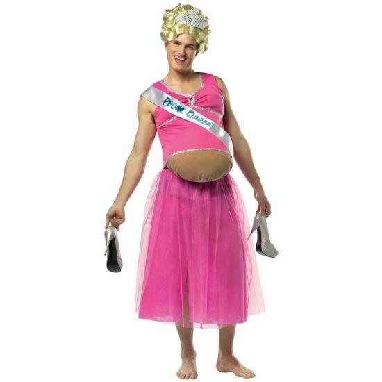 Zwangere prom queen kostuum. Dit grappige kostuum bestaat uit een bodysuit, topje en rokje. Leuk voor carnaval! One size kostuum, ongeveer M/L. Carnavalskleding 2015 #carnaval