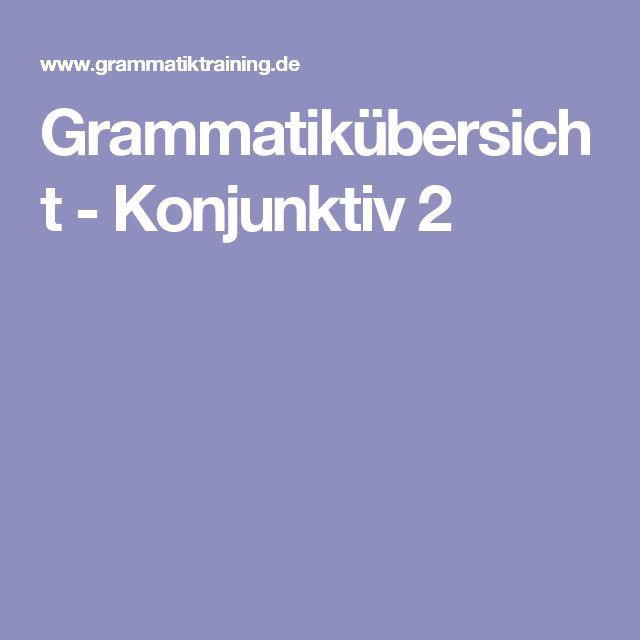 Grammatikübersicht - Konjunktiv 2