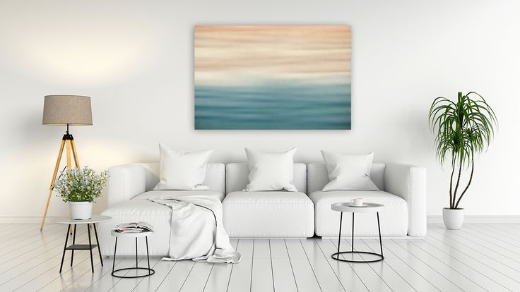 """Leinwandbild """"Strand und Meer"""", Abstrakt, Ozean, Sand, Wasser, Küste, Bild, Wohnzimmer, Wandkunst"""
