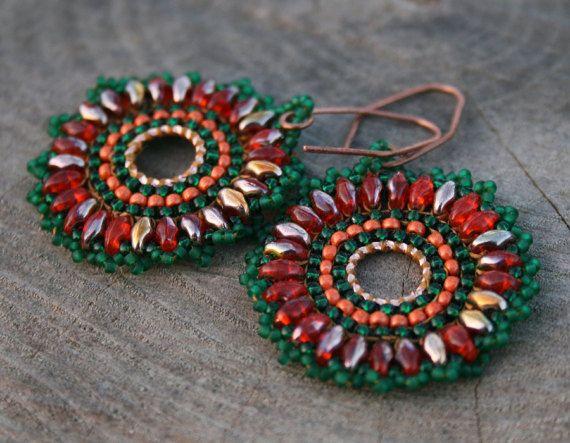 dangle earrings statement earrings seed beads by koralikowyraj