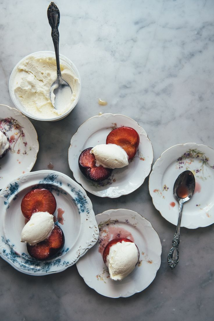 Roasted Plums with Vanilla Bean Ice Cream | Beans, Home and Ice