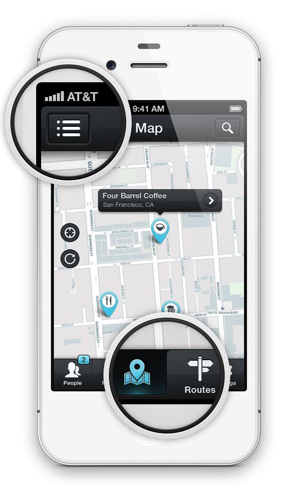 «Maps» iOS App GUI by Rami McMin, via Behance