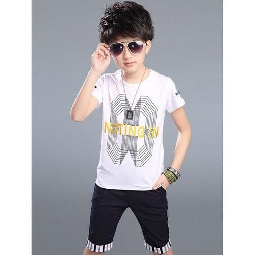 Stylish Letter Pattern Geometric T-Shirt + Striped Knee Length Shorts Boy's Twinset