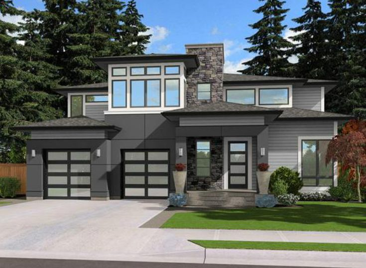 Contemporary Prairie Style - 23506JD | Contemporary, Northwest, Prairie, Narrow Lot, 2nd Floor Master Suite, Bonus Room, Butler Walk-in Pantry, CAD Available, Den-Office-Library-Study, PDF | Architectural Designs
