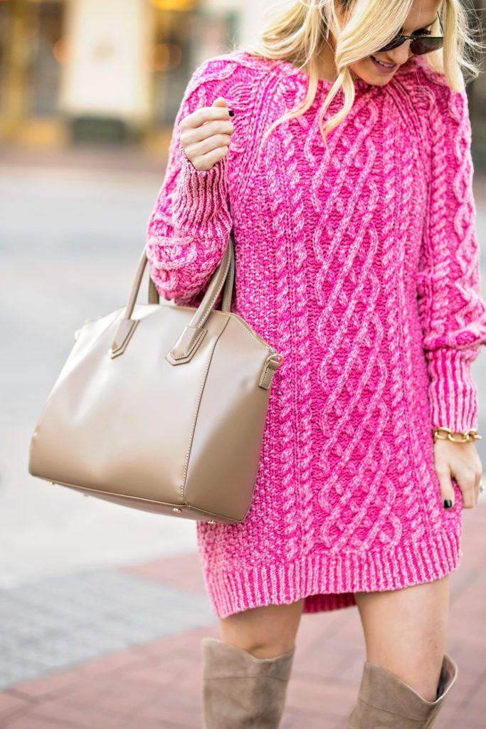 Pink Sweater Dress, OTK Boots