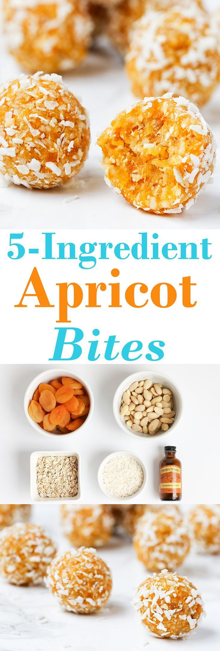 Sweet Apricot bites.  These delicious bites only take 15 minutes  Enjoy these tidbits: almonds, rolled oats, almond extract, dried apricots, shredded coconut.  #Appetizers #CleanEating Sherman Financial Group