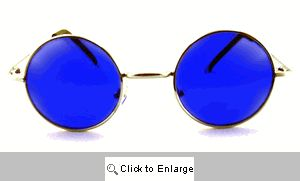 Small Round Spectacle Sunglasses - 408 Blue