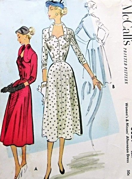 1950s Stunning Day or Dinner Cocktail Dress Pattern Striking Sweetheart Neckline With Curved Wing Collar McCalls 8829 Vintage Sewing Pattern Bust 32