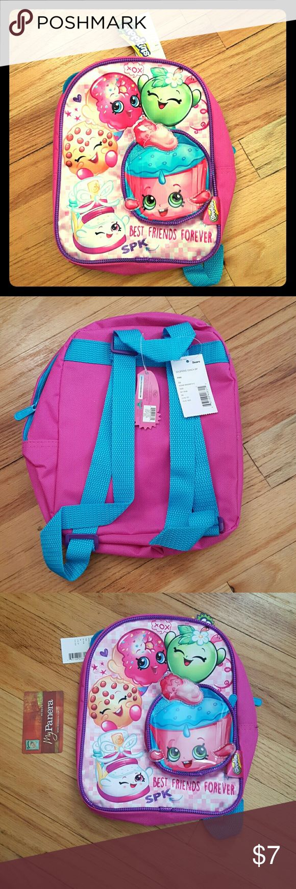 Mini Shopkins backpack, NWT This is a minii Shopkins backpack with tags attached.  Perfect to add to a bundle to get a further discount.  Check out my closet!  All items come from a smoke free and pet free home.  All reasonable offers taken;))) Shopkins Other