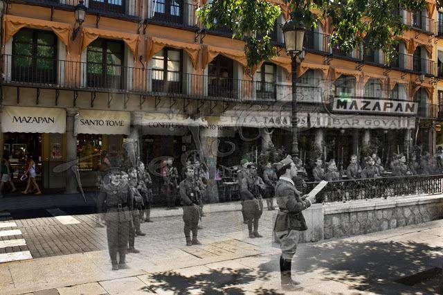 El capitán Vela Hidalgo lee la declaración del Estado de Guerra en la Plaza de Zocodover, Toledo