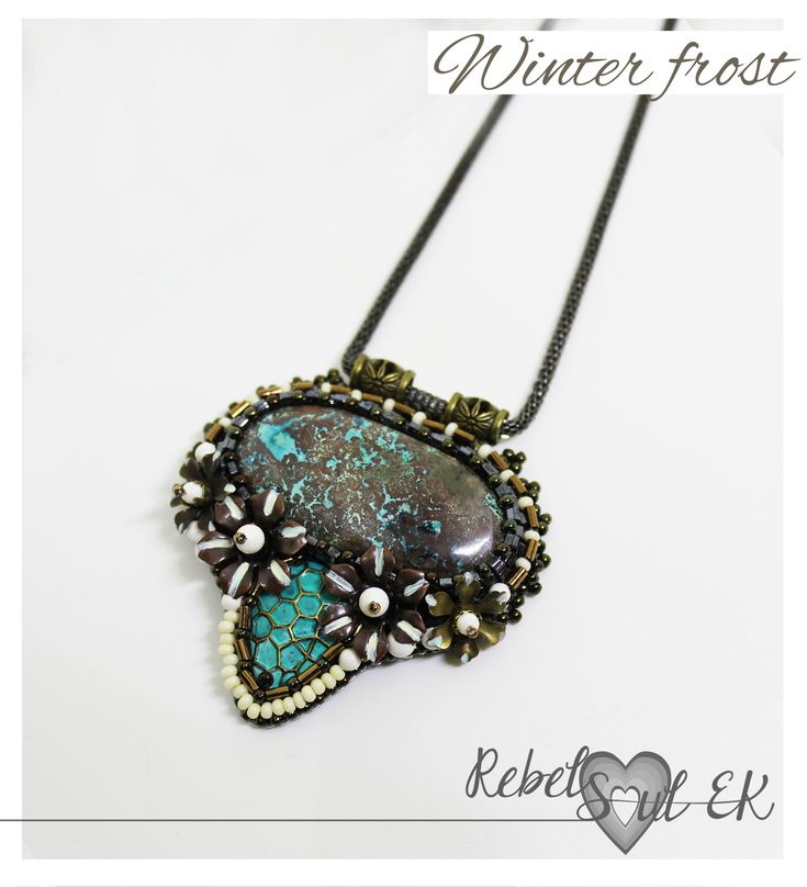 Azurite stone embroidery pendant, turquoise color stone pendant, winter theme, bronze gemstone pendant, unique jewelry, flower pendant