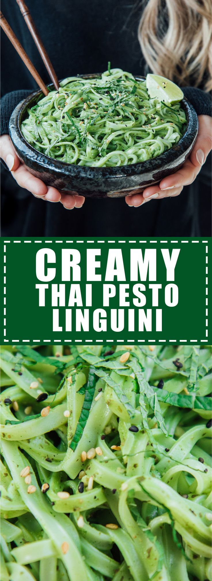 This creamy Thai pesto linguini is healthy comfort food at its finest. Easy to make, vegan, and gluten-free!