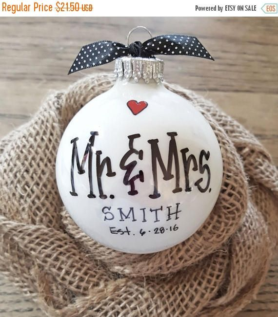 MR. & MRS. ORNAMENT: A truly unique, one-of-a-kind keepsake gift for your favorite bride and groom that will be cherished for a lifetime. Perfect for weddings, engagements and anniversaries! *This listing is for 1 Personalized Mr. & Mrs. ornament - Wedding sets (photos 4 & 5) are shown for other related gift giving ideas.  PERSONALIZATION INFO: (USE NOTES TO SELLER WHEN PLACING YOUR ORDER) - The back of the ornament is personalized with first names and their wedding date. (photo 2...