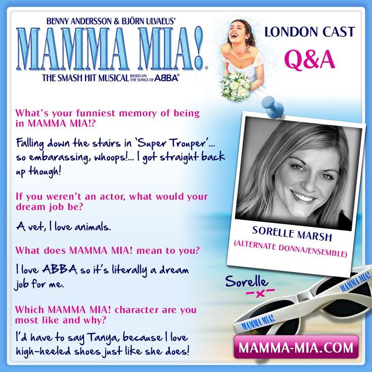 Say hello to the wonderful Sorelle Marsh from the MAMMA MIA! London production! Sorelle plays the alternate Donna and is a member of the ensemble.  MAMMA MIA! London INFO/TICKETS: www.mamma-mia.com  #MammaMiaMusical #MammaMiaLondon #MeetTheCast