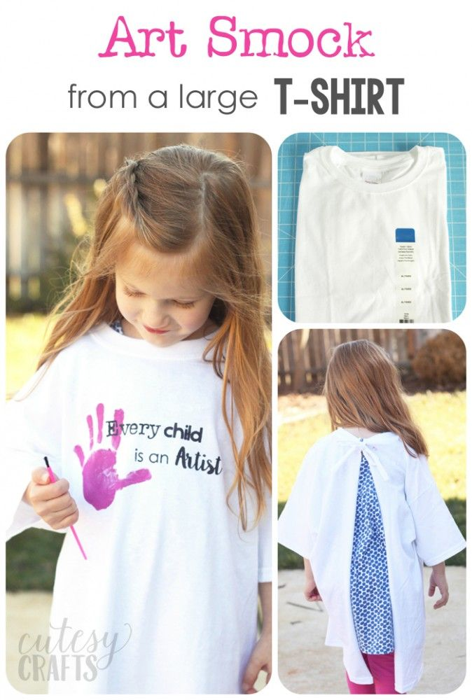 Make these cute art smocks from a t-shirt. - Great for an art party!