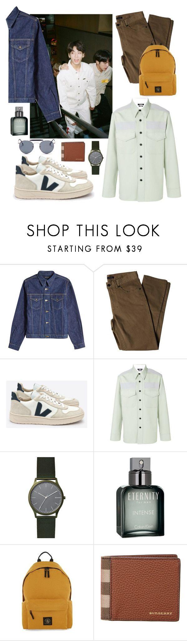 """""""방탄 street style"""" by omithenaomi ❤ liked on Polyvore featuring Calvin Klein 205W39NYC, Lords of Harlech, Skagen, Calvin Klein, Topman, Burberry, Ray-Ban, men's fashion and menswear"""