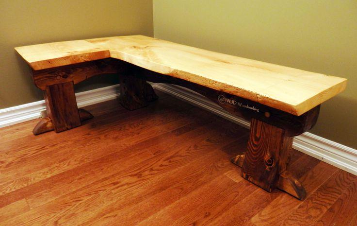 Reclaimed White Pine Timberframe Corner Bench