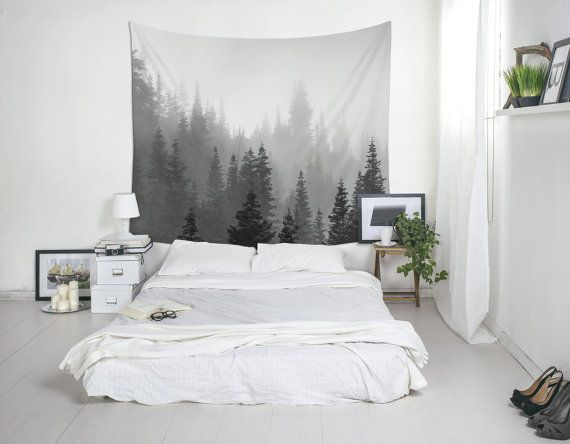 bedroom tapestry. Fog Trees Tapestry  Black White Art Landscape Photo Nature Wall Decor The 25 best Tree tapestry ideas on Pinterest weaving