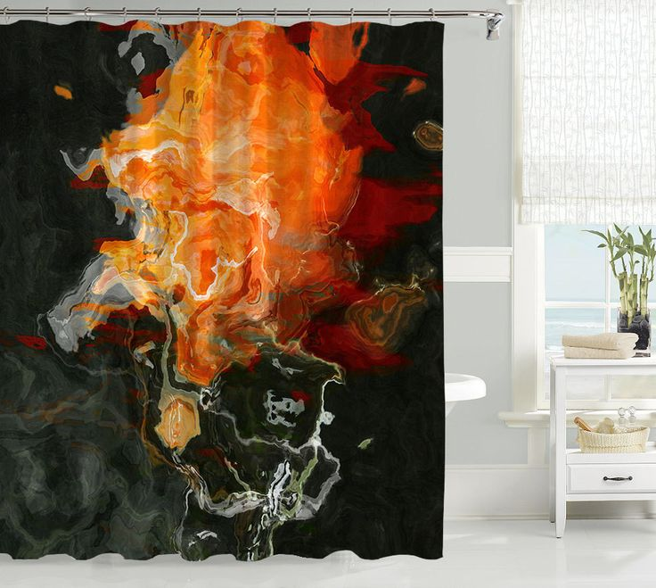 Abstract art shower curtain  black and orange Flame Best 25 Orange curtains ideas on Pinterest