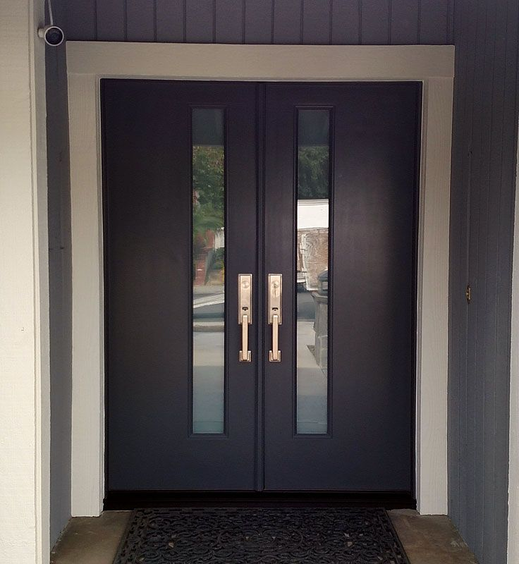 Plastpro smooth fiberglass with White Laminated glass in Cavernous color. Installed in Yorba Linda & 12 best Modern Doors images on Pinterest | Modern door Entrance ...
