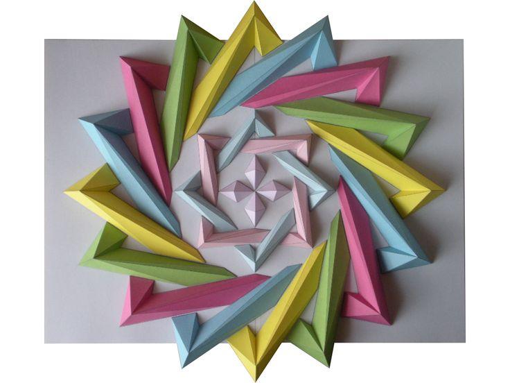 cross line spiral paper origami mosaics by Kota Hiratsuka