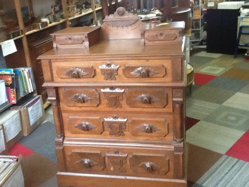 Antique Victorian East Lake Carved Dresser With