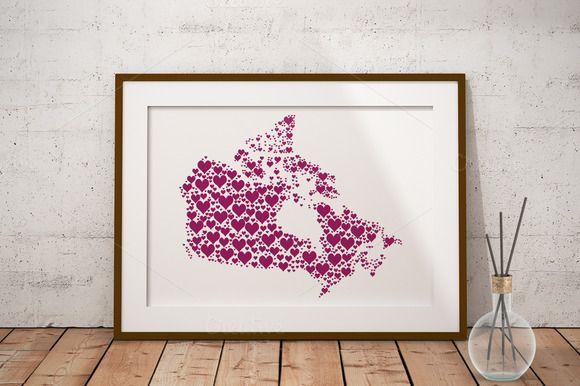 Canada heart fill vector map by PrettyDigiDesign on @creativemarket