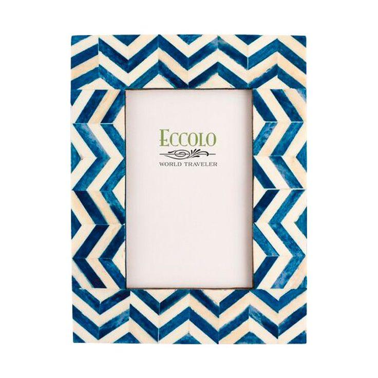 "Chevron Frame – Blue, 4"" x 6"" by Eccolo   Desk Frames Gifts   chapters.indigo.ca"