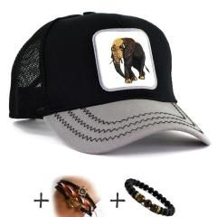 Siyah Gri Çift Renk ELEPHANT CAP Fil Şapka Fileli Cap Erkek Bayan