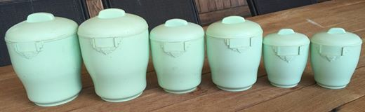Vintage canisters for the caravan from the op shop.